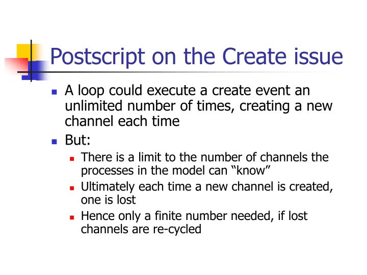 Postscript on the Create issue