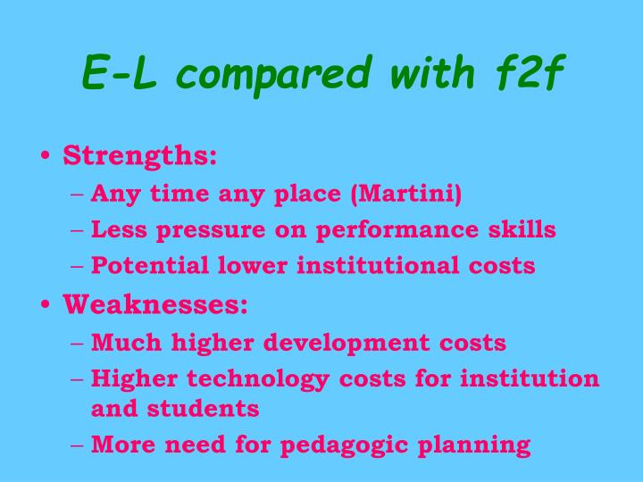 E-L compared with f2f
