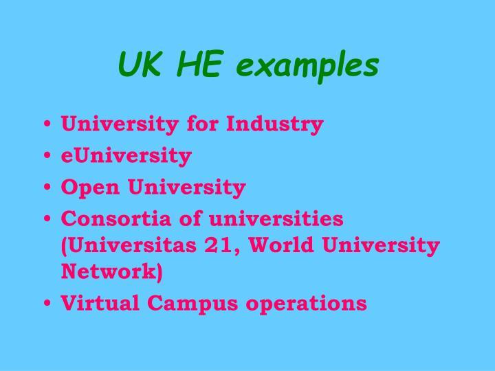 UK HE examples