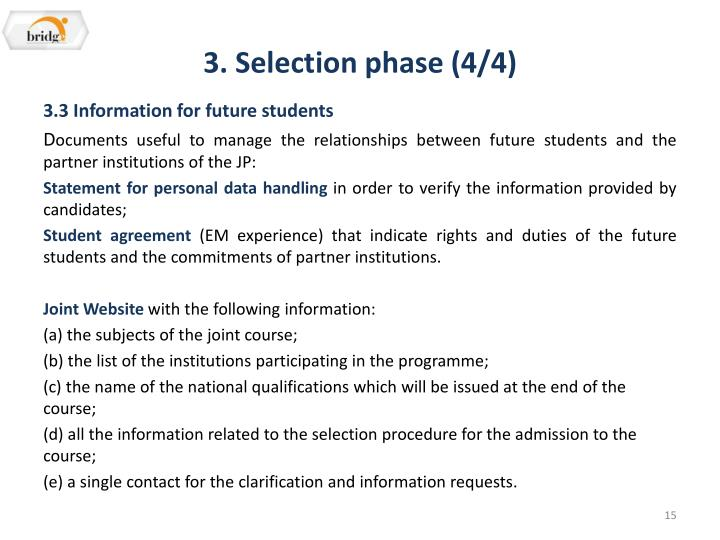 3. Selection phase (4/4)