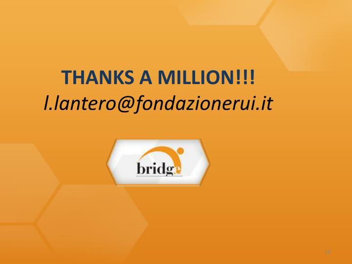 THANKS A MILLION!!!