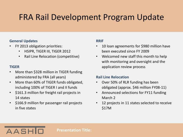 FRA Rail Development Program Update