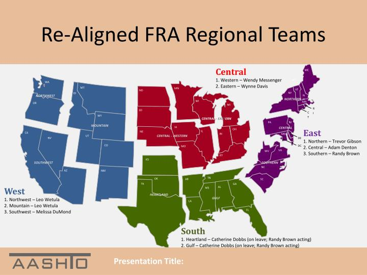 Re-Aligned FRA Regional Teams