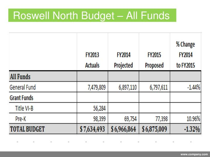 Roswell North Budget – All Funds