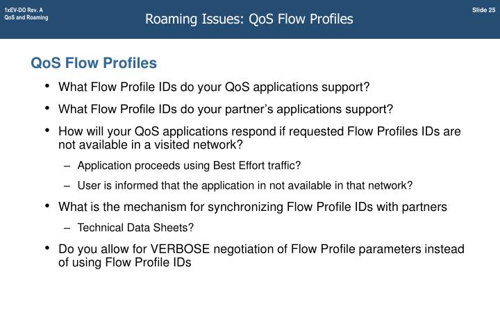 Roaming Issues: QoS Flow Profiles