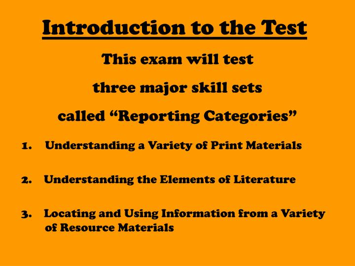 Introduction to the Test