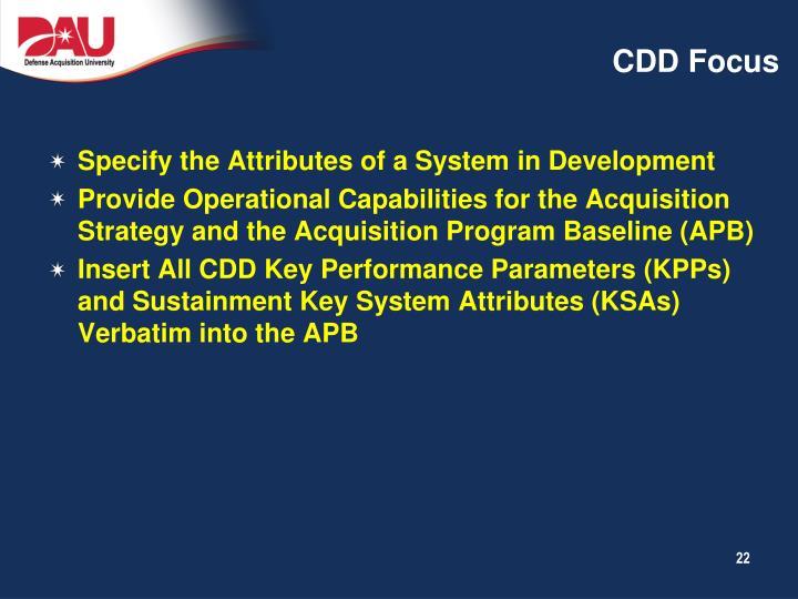 CDD Focus
