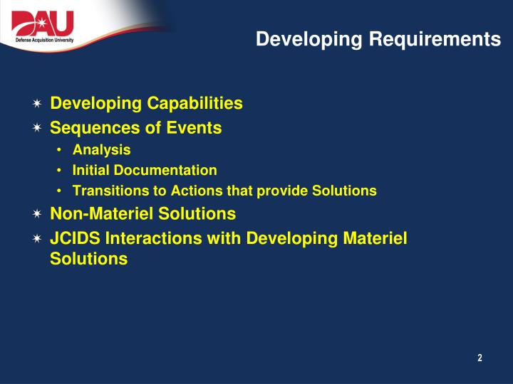 Developing requirements