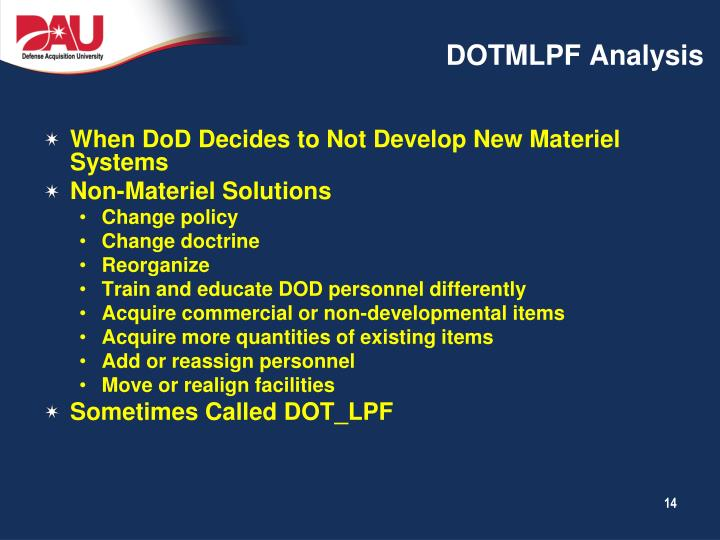 DOTMLPF Analysis