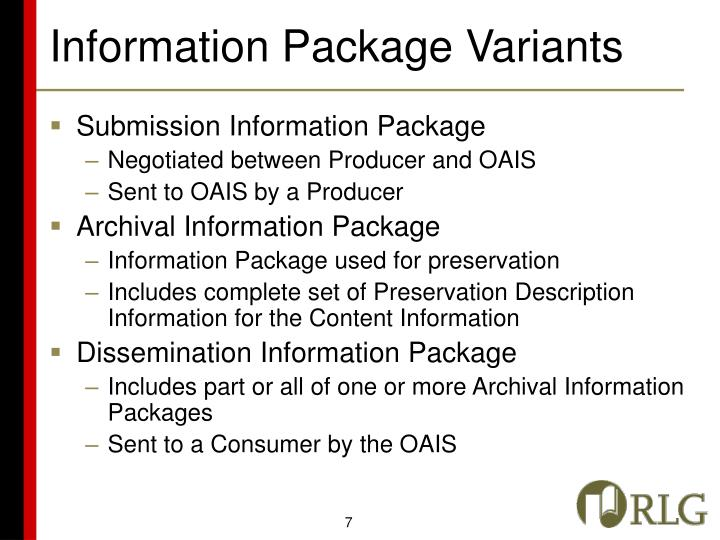 Information Package Variants