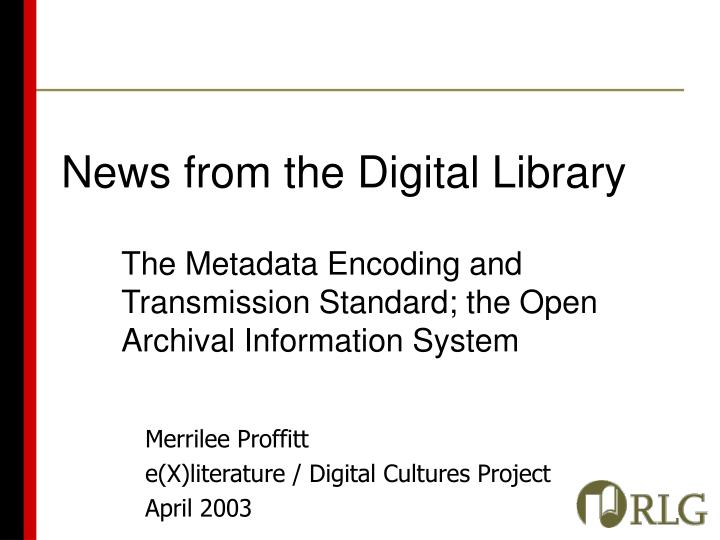 News from the digital library