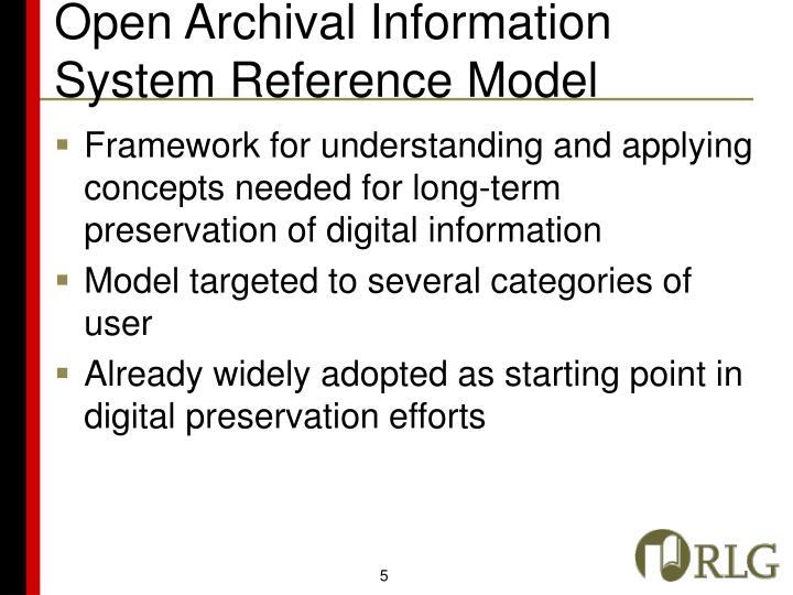 Open Archival Information System Reference Model