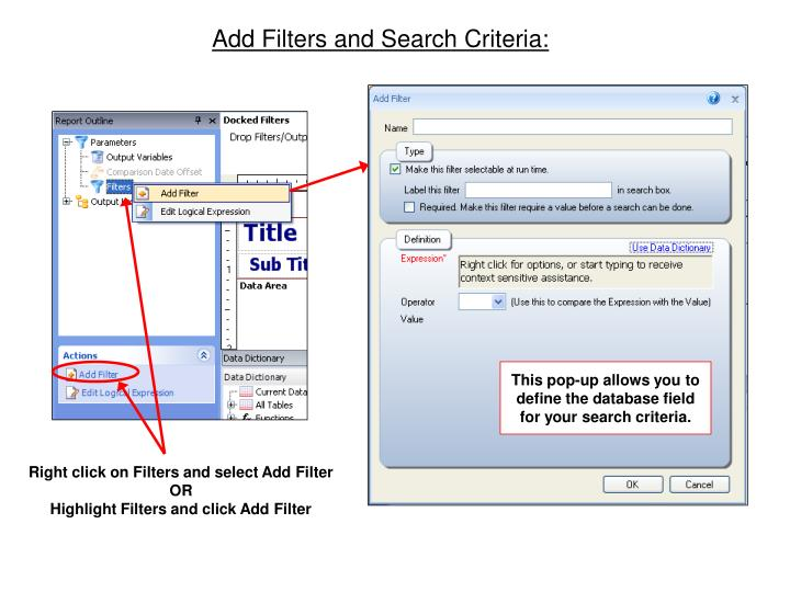 Add Filters and Search Criteria:
