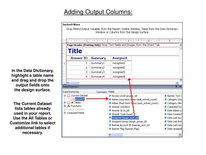 Adding Output Columns: