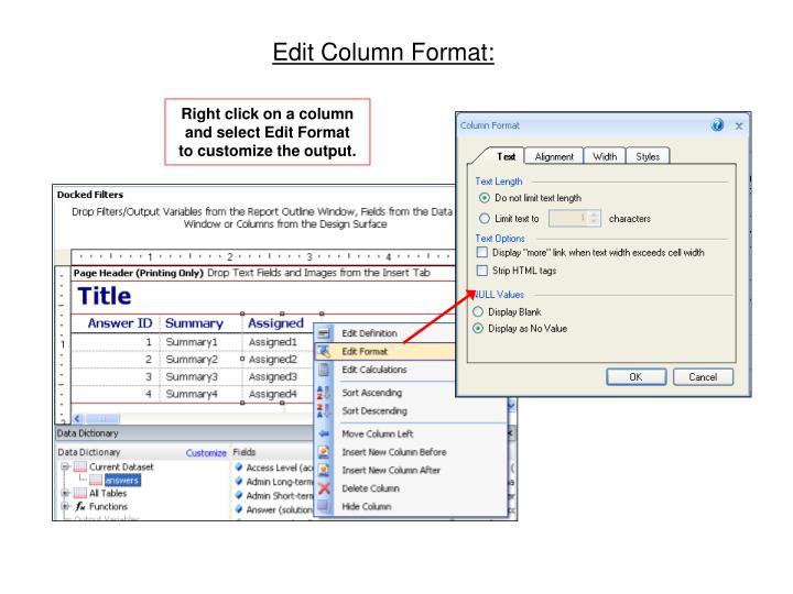 Edit Column Format: