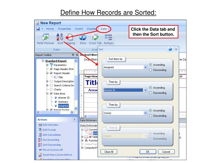 Define How Records are Sorted: