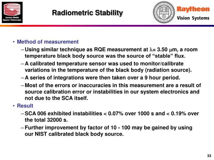 Radiometric Stability