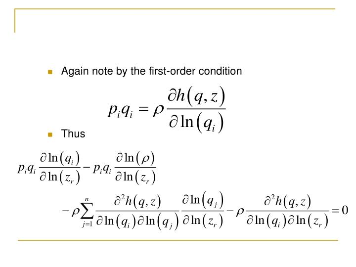 Again note by the first-order condition