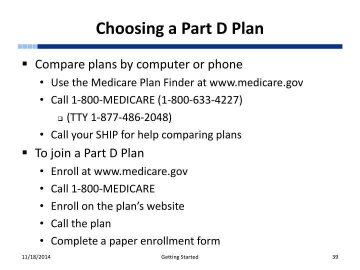 Choosing a Part D Plan