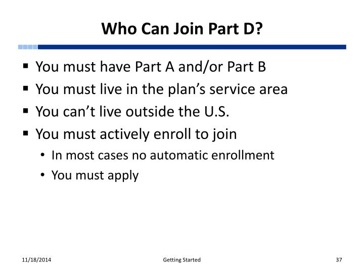 Who Can Join Part D?