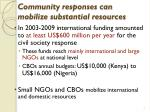 community responses can mobilize substantial resources