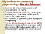 implications for community programming use the evidence