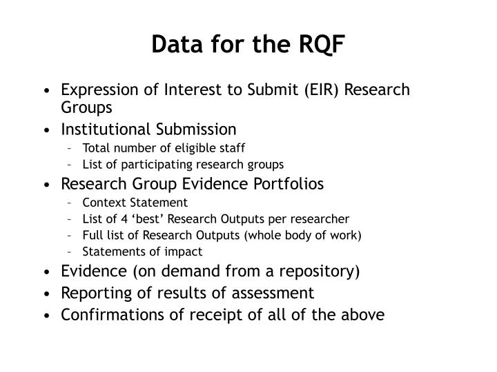 Data for the RQF