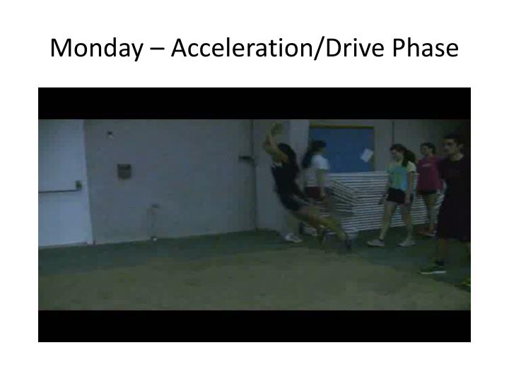 Monday – Acceleration/Drive Phase