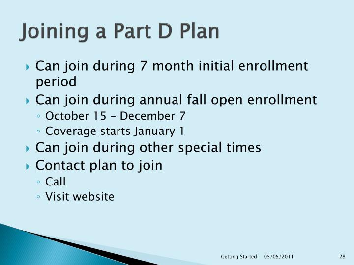 Joining a Part D Plan