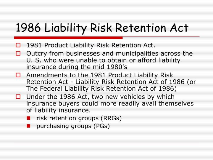 1986 Liability Risk Retention Act