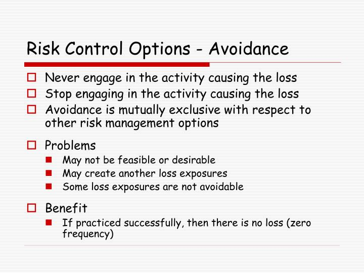 Risk Control Options - Avoidance