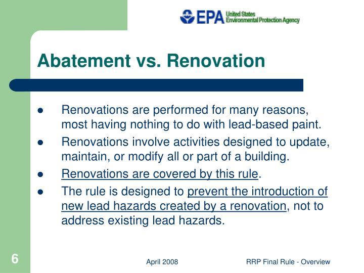 Abatement vs. Renovation