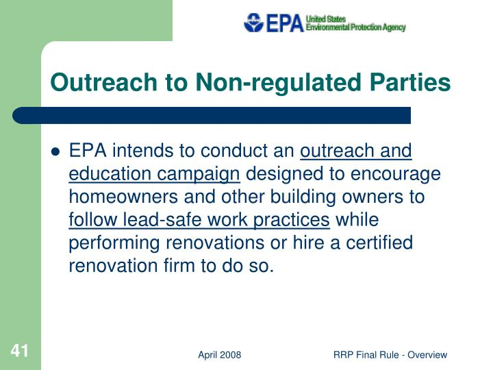 Outreach to Non-regulated Parties