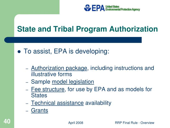 State and Tribal Program Authorization