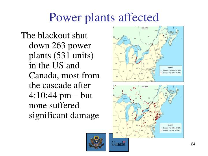 Power plants affected