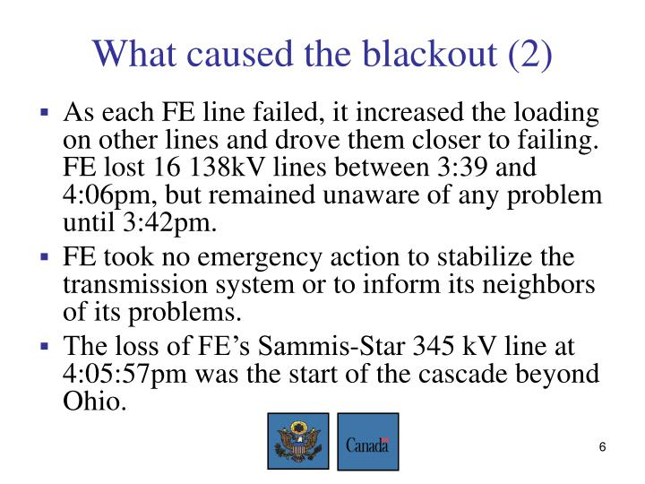 What caused the blackout (2)