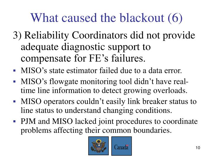 What caused the blackout (6)