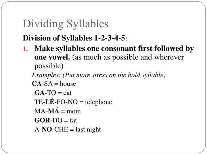 Dividing Syllables