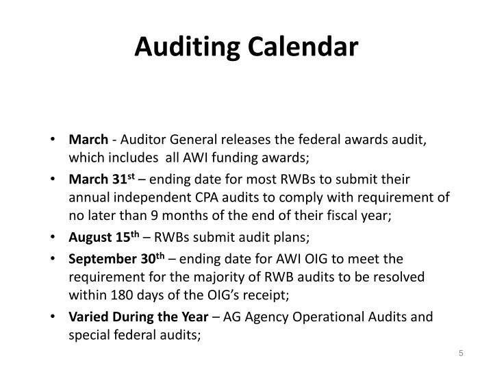 Auditing Calendar