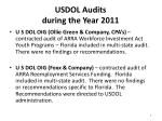 usdol audits during the year 2011