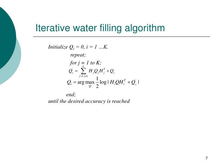 Iterative water filling algorithm