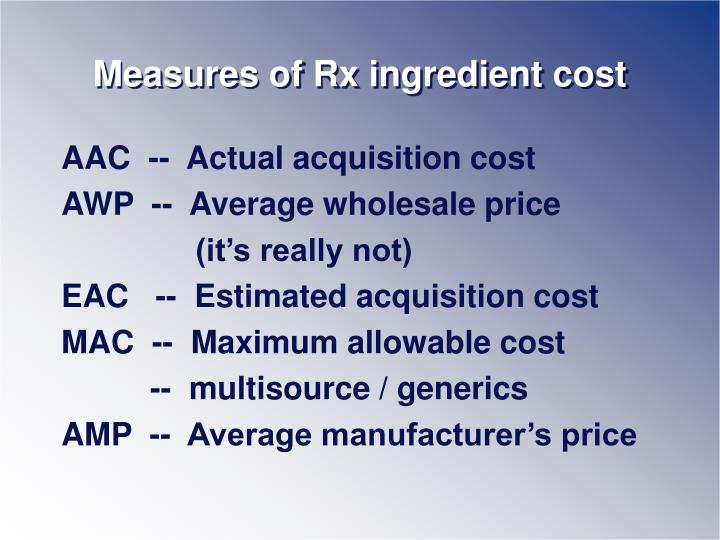 Measures of Rx ingredient cost