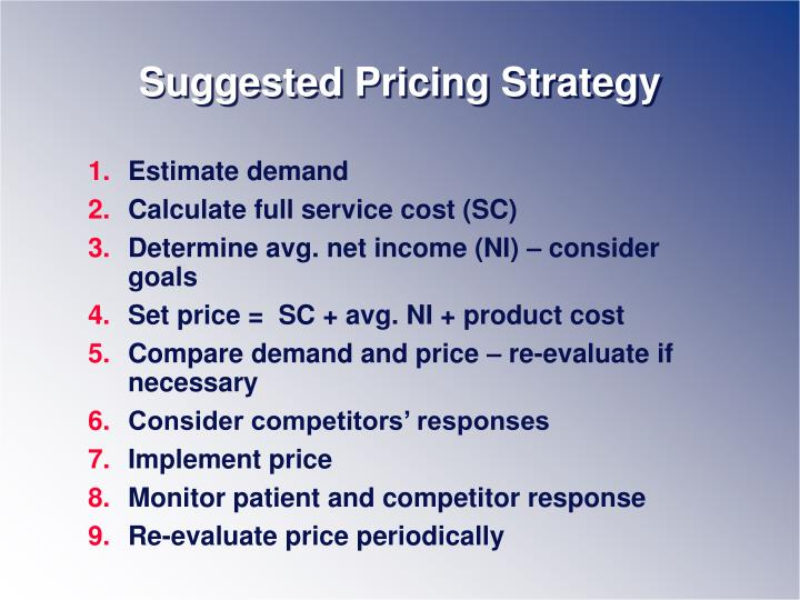 Suggested Pricing Strategy