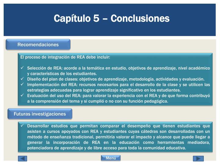 Capítulo 5 – Conclusiones