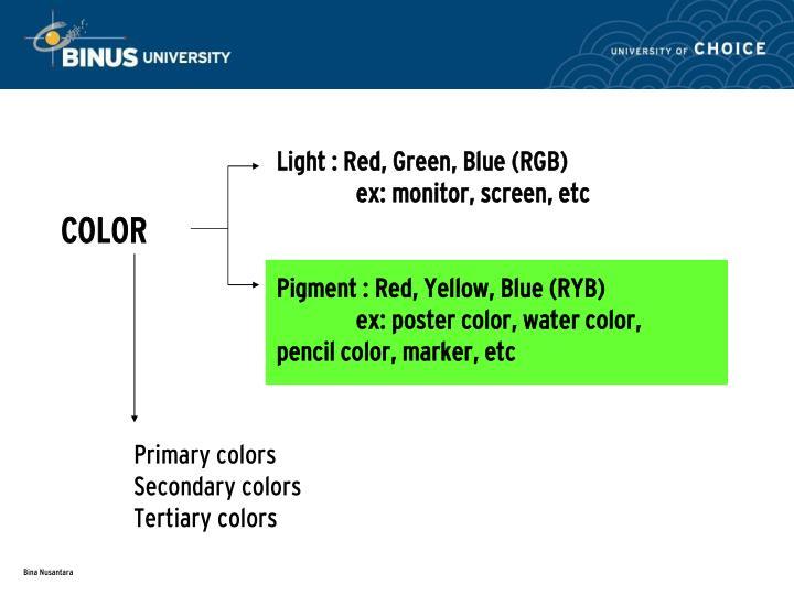Light : Red, Green, Blue (RGB)
