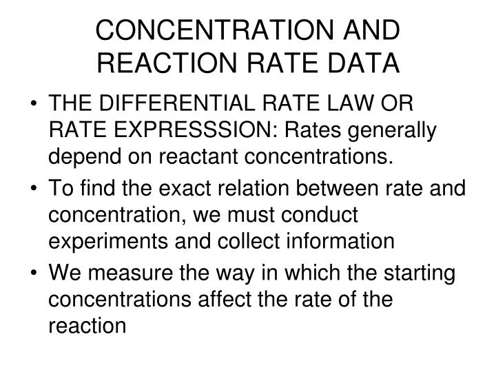 CONCENTRATION AND REACTION RATE DATA
