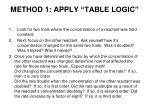 method 1 apply table logic