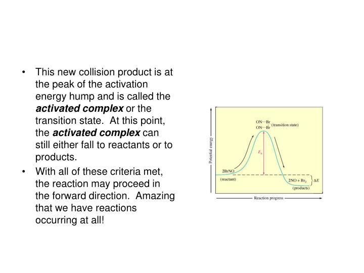 This new collision product is at the peak of the activation energy hump and is called the