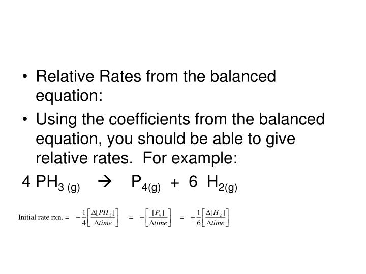 Relative Rates from the balanced equation: