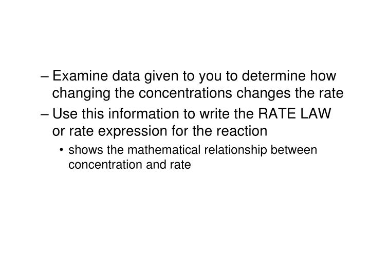 Examine data given to you to determine how changing the concentrations changes the rate